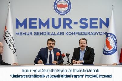 Memur-Sen ile Hacı Bayram Veli Üniversitesi Arasında Protokol